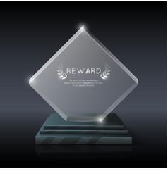 Realistic crystal glass trophy award vector