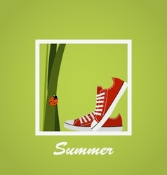 Red Sneakers shoes grass ladybug Summer vector image