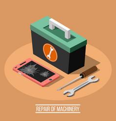 Repair of machinary isometric design concept vector
