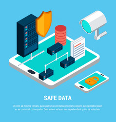 Safe data isometric design concept vector