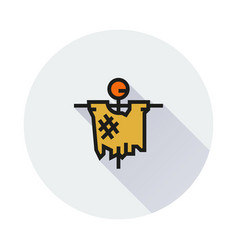 Scarecrow icon on round background vector