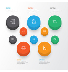 school icons set collection of document case vector image