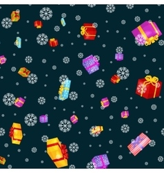 Seamless pattern gift box for holiday presents vector