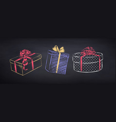 Set gift boxes vector