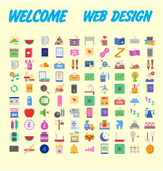 set of 100 flat style education icons vector image