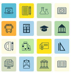 Set of 16 education icons includes graduation vector