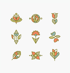 set of isolated abstract flowers and plants vector image vector image