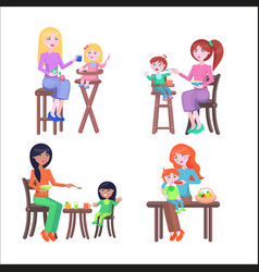 Set of mothers and children happy mother day vector
