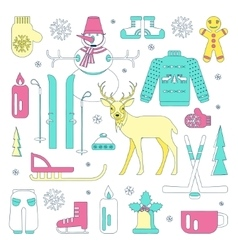 Set of winter icons vector image