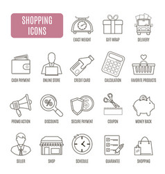 shopping icons set of pictogram for web graphics vector image