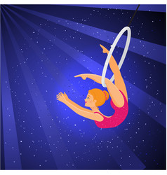show in the circus girl acrobat performs a trick vector image
