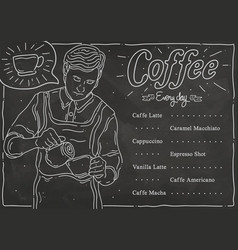 Sketch coffee shop menu list vector