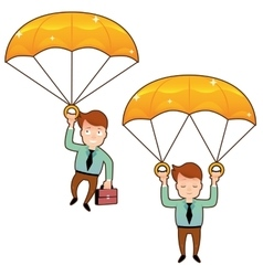 Smiling man fall on a golden parachute with vector image
