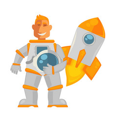 spaceman in pressure suit and spaceship that takes vector image