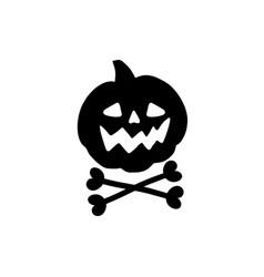 spooky face pumpkin vector image