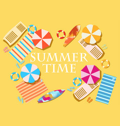 Summer time beach elements umbrellas shelves vector
