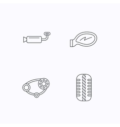 Tire tread car mirror and timing belt icons vector image