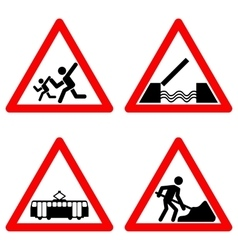 Traffic signs set on white background vector