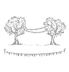 trees with flags vector image