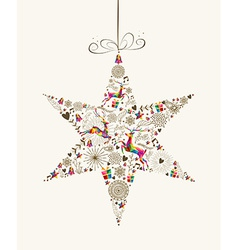 Vintage Christmas star bauble greeting card vector image