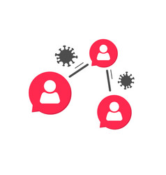 Virus spreading on people icon or infection vector