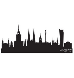 Warsaw poland city skyline silhouette vector