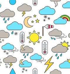 Weather forecast colorful pattern icons vector image