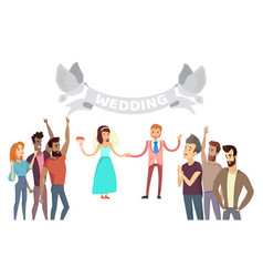 Wedding process lot of friends on festive ceremony vector