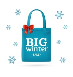 Winter big sale fabric cloth bag tote vector