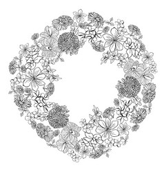 wreath with sketch flowers blossom in white vector image
