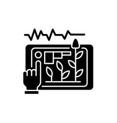 Yield prediction black glyph icon vector