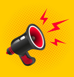 black megaphone on yellow background vector image