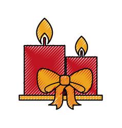 Candle christmas flower decoration festive vector