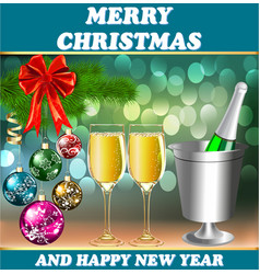 Card for the holiday with a glass christmas balls vector