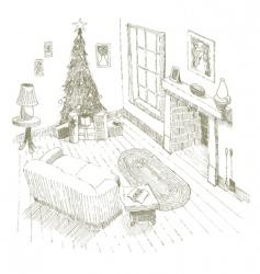 Christmas interior vector image