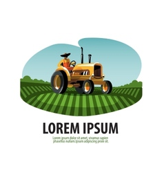 Farm Tractor and Harvest Logo icon emblem template vector image