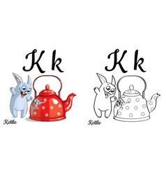 kettle alphabet letter k coloring page vector image vector image