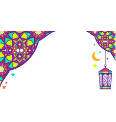 oriental arabic ornament greeting card with lamp vector image vector image