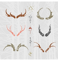 Set of horns in hand draw style colour vector image vector image