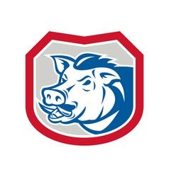 Wild Pig Razorback Head Shield Retro vector image vector image