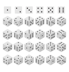 3d dice combinations set isometric view vector image vector image