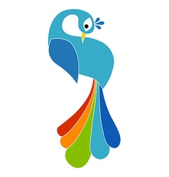 Colored peacock silhouette Isolated vector image vector image