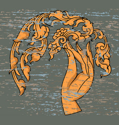 Gold hand with flowers art pattern vector