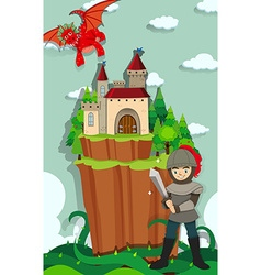 Knight fighting with the dragon vector image