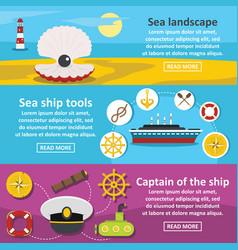 nautical ocean banner horizontal set flat style vector image vector image