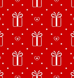 Red seamless pattern with gift and hearts vector image vector image