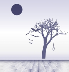 white room with image of sad moon vector image vector image