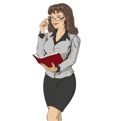 Young beautiful woman teacher holding open book vector image vector image
