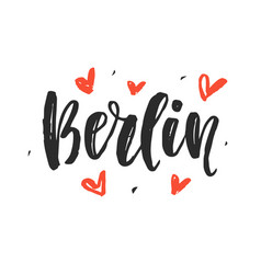 berlin modern city hand written brush lettering vector image vector image