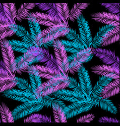 black blue and purple palm seamless pattern vector image vector image